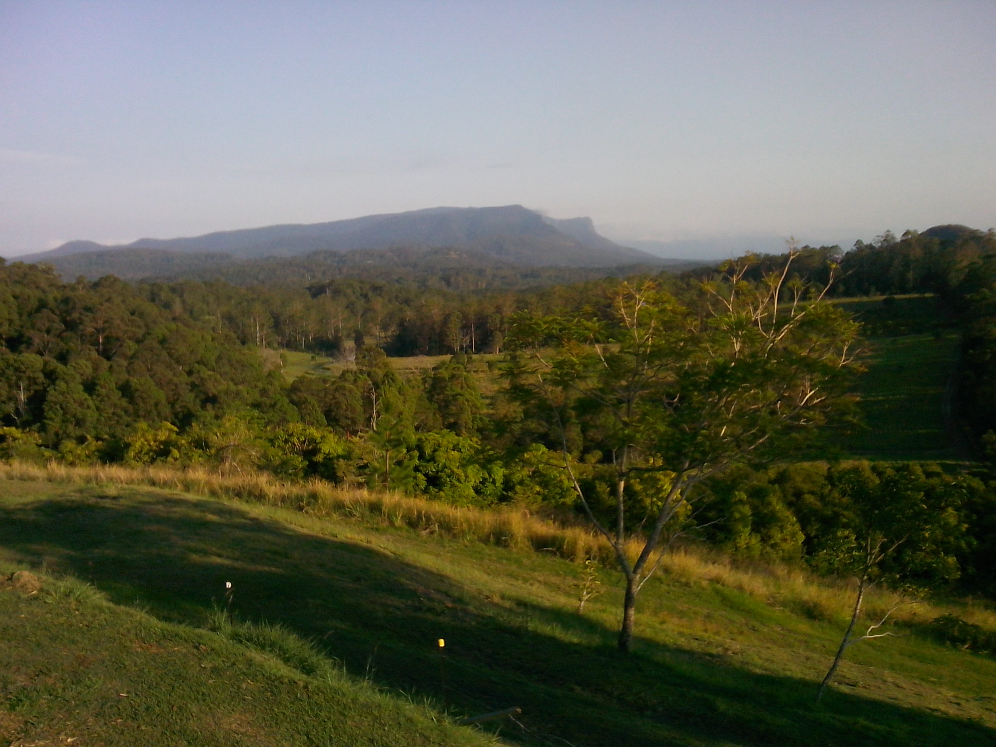 View of rain forest covered mountains from house at Stoney Chute nr Nimbin, NSW, Australia