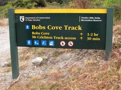 Bob's Cove Track Sign