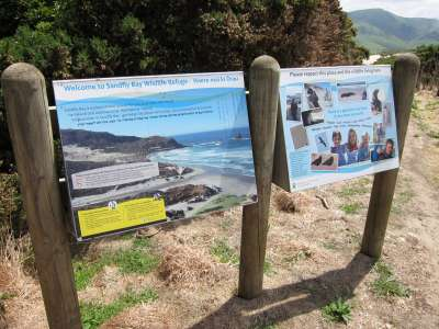 Sandfly Bay Sign