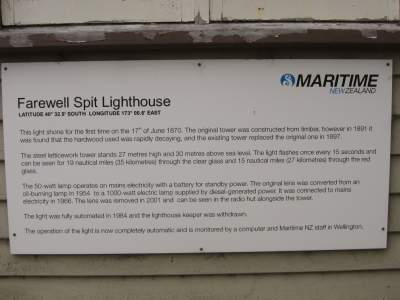 Farewell Spit Lighthouse Sign