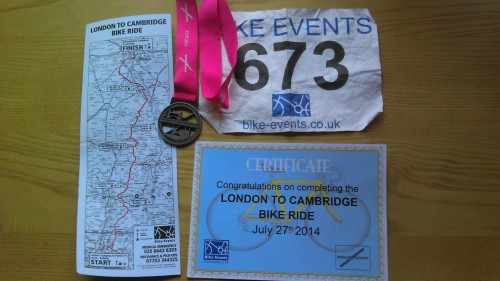 Ride map, ride no. medal and certificate