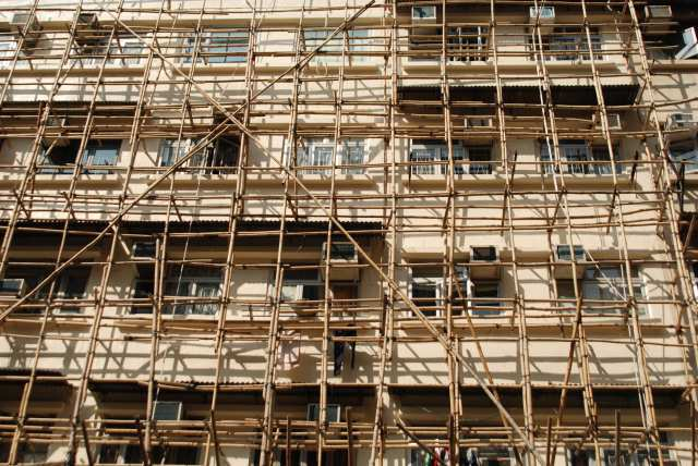 Bamboo scaffolding around a building