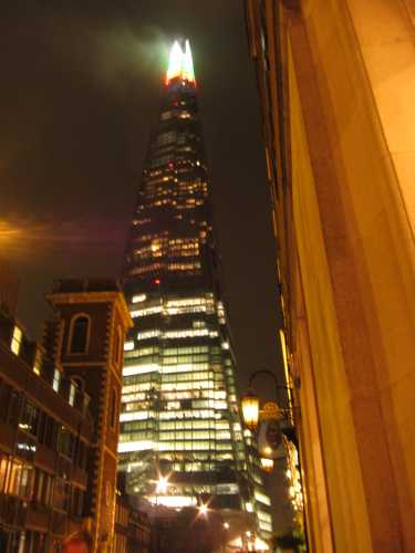 London's Shard skyscraper at night
