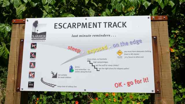 Escarpment Track sign