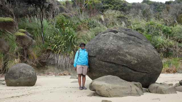 Large boulder on beach