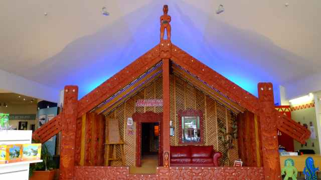 Mock up of a Maori meeting house, Taupo Museum
