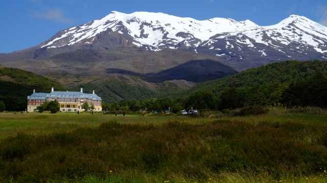 Snow capped Mount Ruapehu & Chateau Tongariro hotel