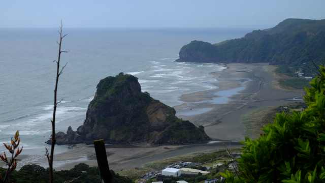 North Piha beach and Lion Rock
