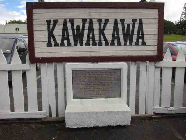 Wooden sign for Kawakawa town