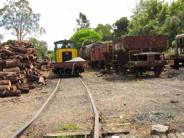Train and logs in railway siding