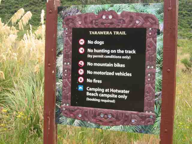 Carved sign marking start of Tarawera Trail