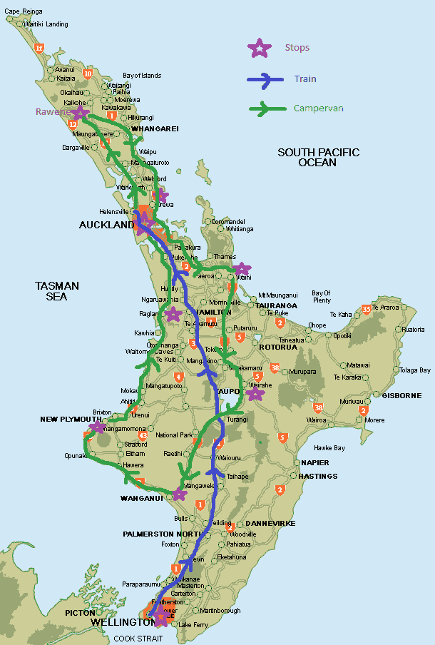 Map of North Island New Zealand showing trip route