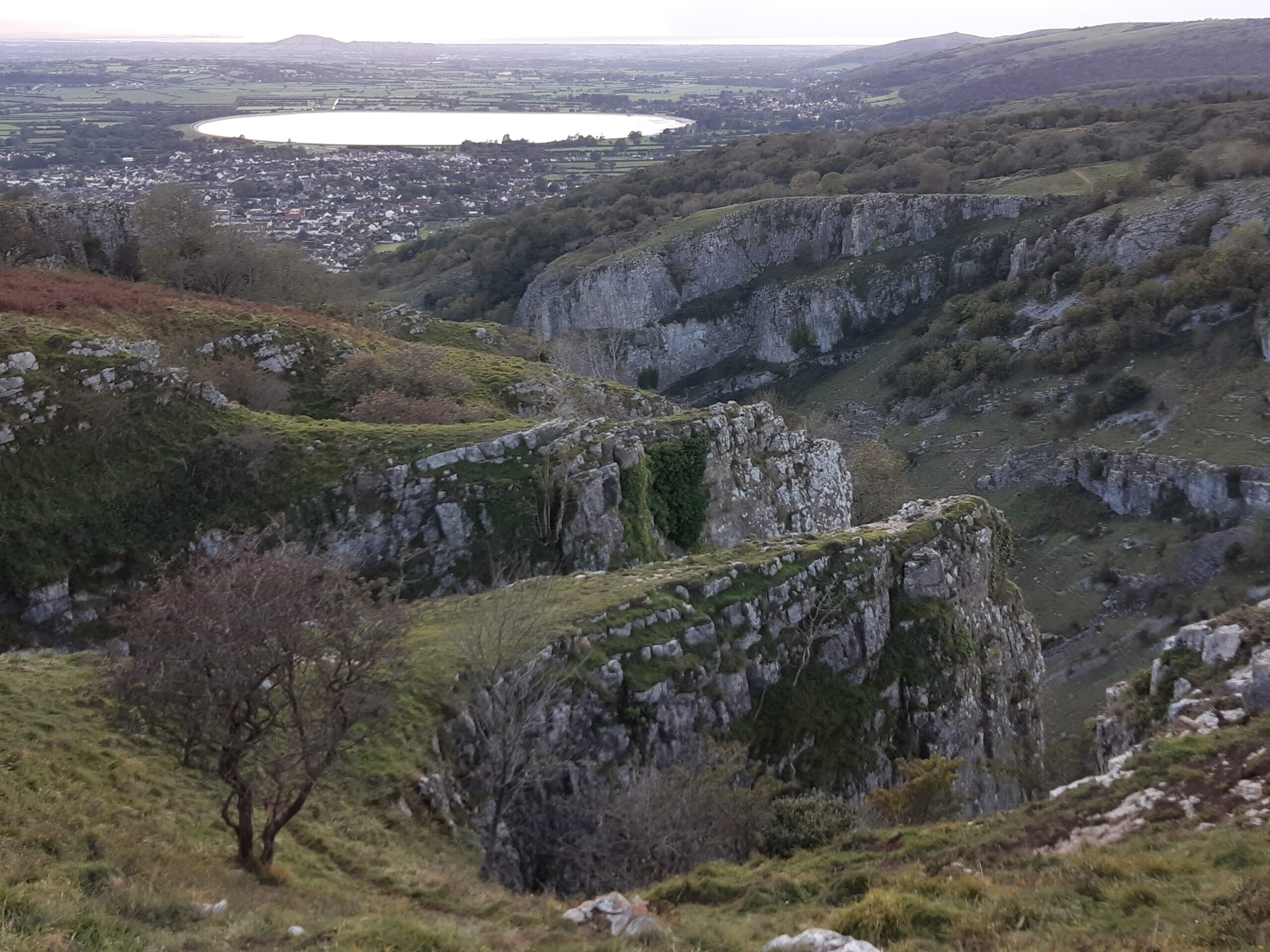 Cheddar Gorge view showing valley and resevoir